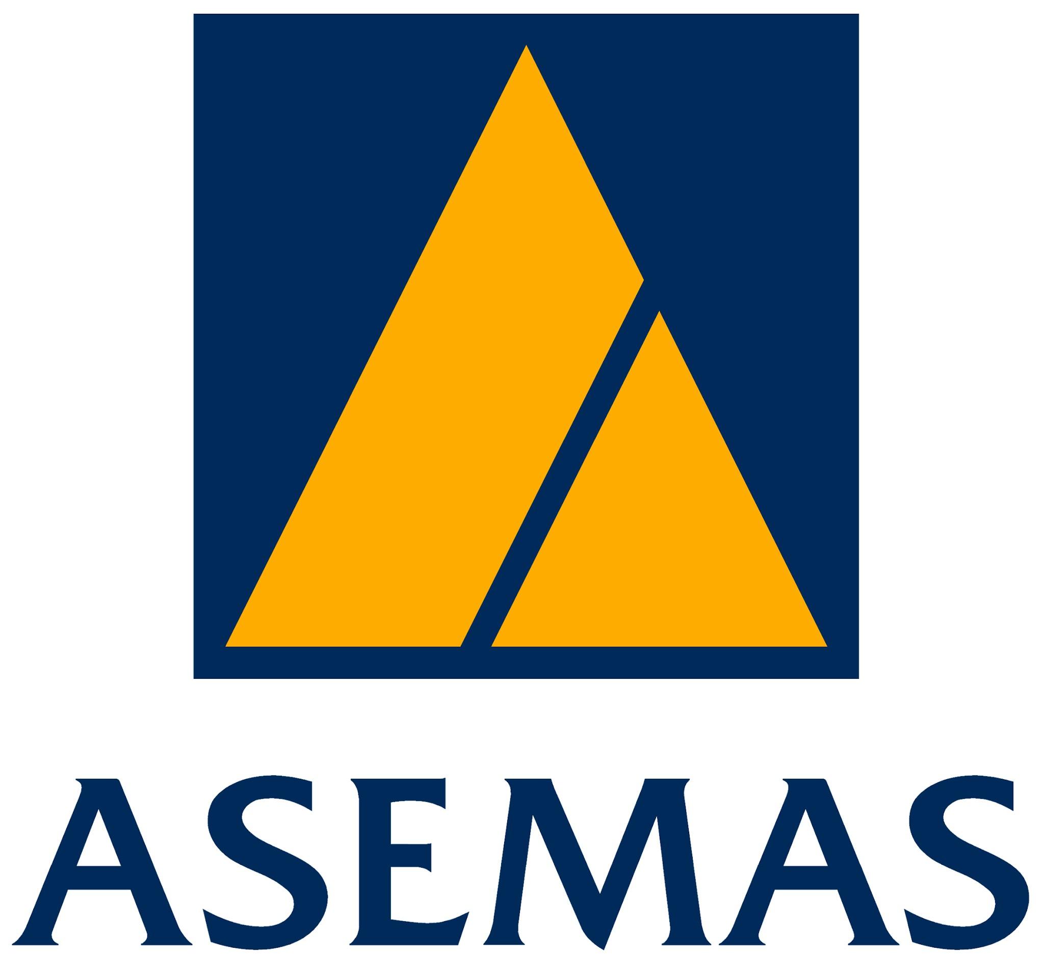 Asemas logo Yellow triangle on Blue square