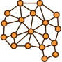 Icon Brain Orange Connected Circles