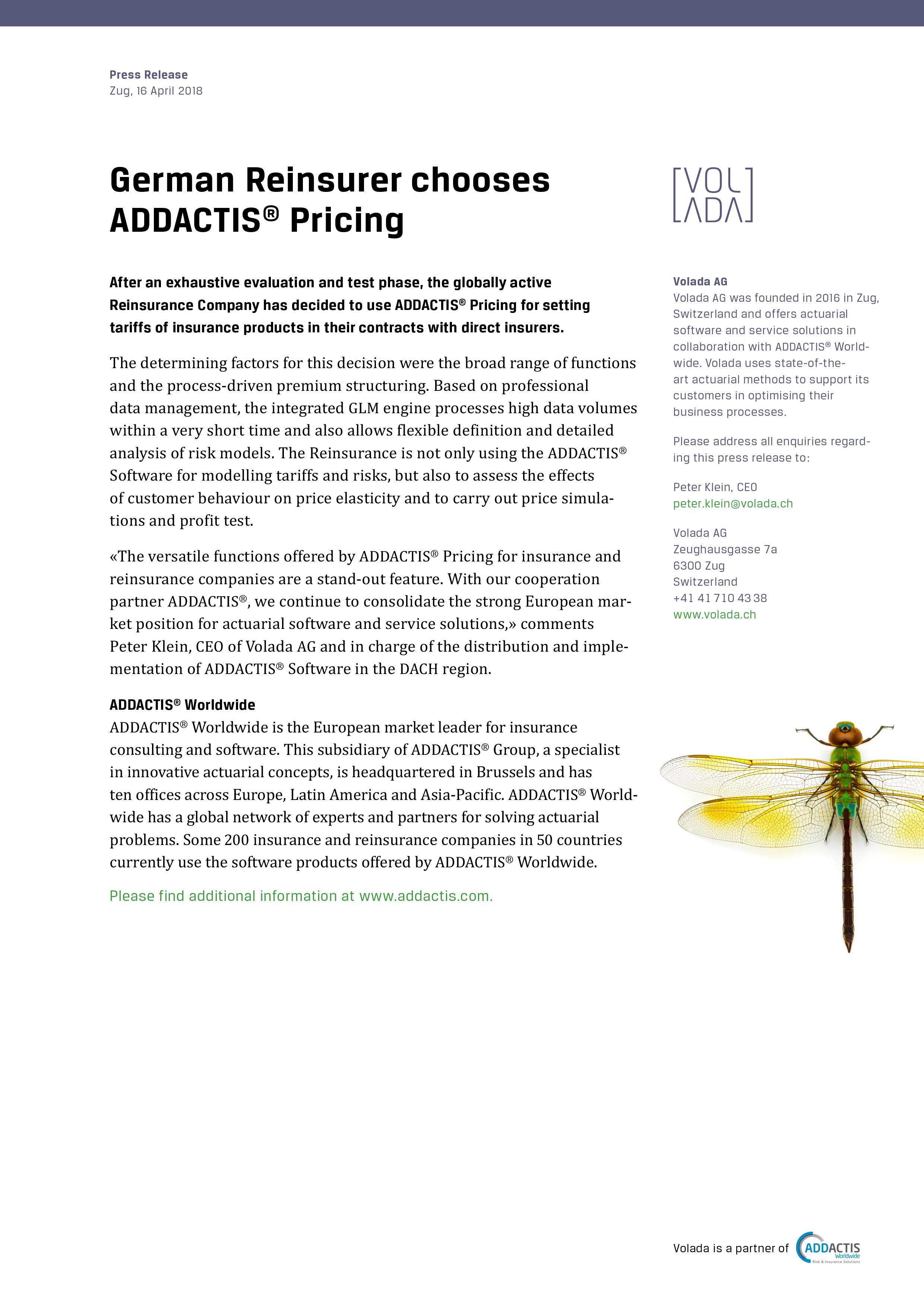 Volada German Reinsurer Chooses addactis® Pricing Press Release