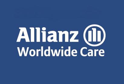 Allianz Worldwide Care Logo blue Background