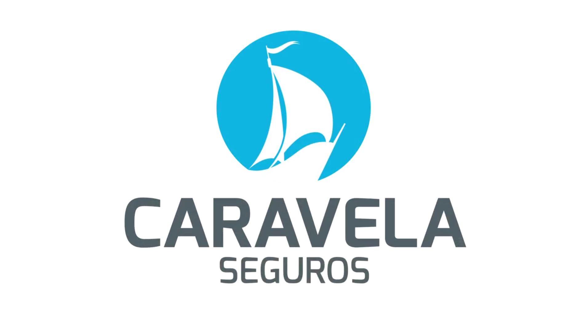 Carabela Seguros logo Sailing-Boat on blue Circle