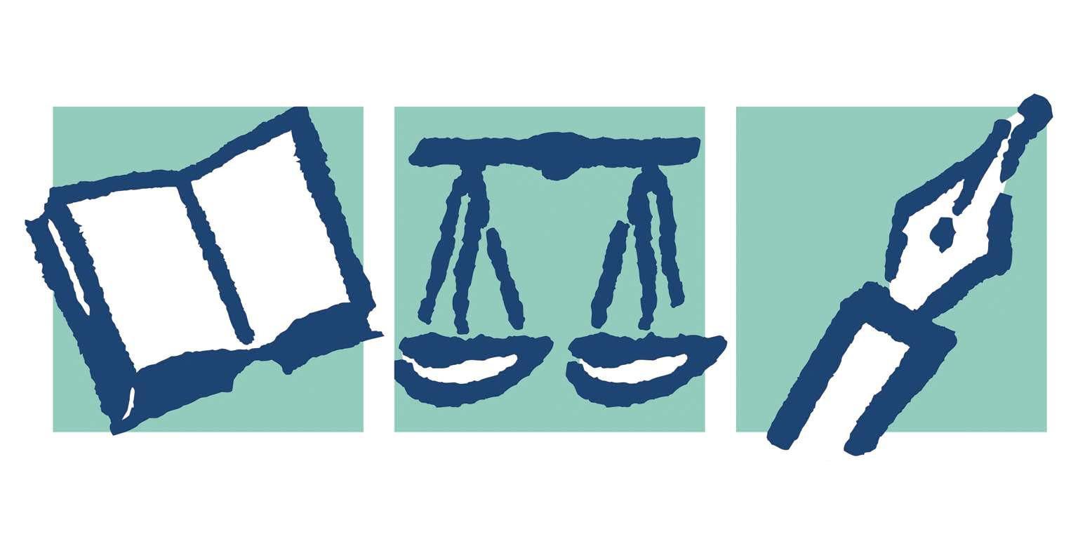 Les Assurances du Notariat Logo Bleu Book Scale & Pencil on green Background